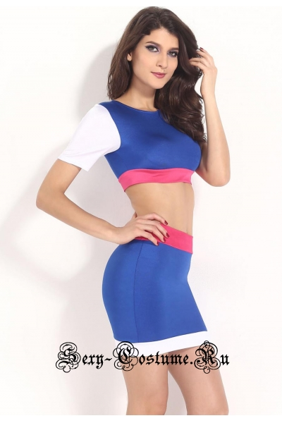 Синее клубное платье кофта + юбка n21125