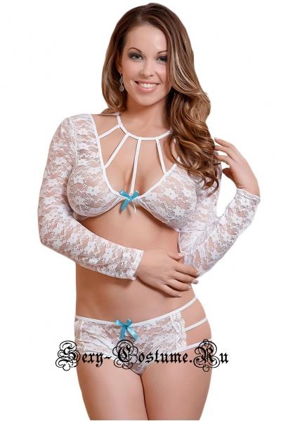 Комплект сексуальной одежды: топ с рукавами + шортики n43030-1