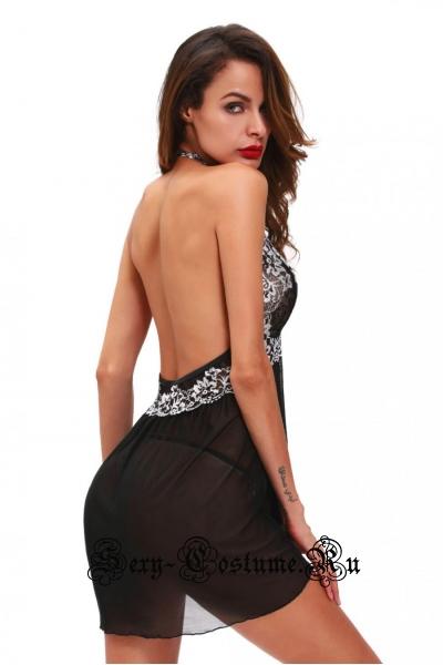 Сорочка полупрозрачная черная с узорами d31015