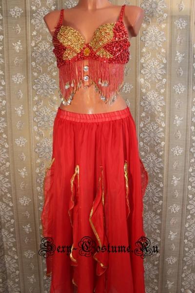 Восточная танцовщица красная раздельная китай lu1015-4