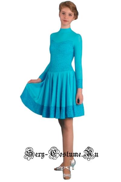 Платье спортивное светло-голубое для девочек 122-128см Россия p 7.4 голубой