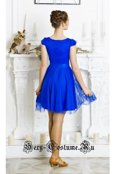 Бальное платье синее для девочек танцы 128-134см Россия  p8.5 синий