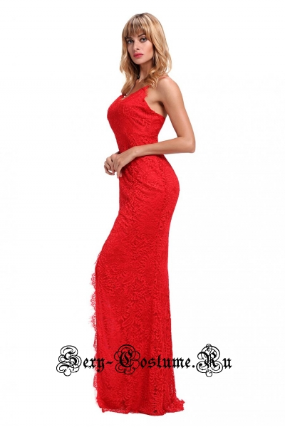 Платье красное клубное длинное сзади d61696-3