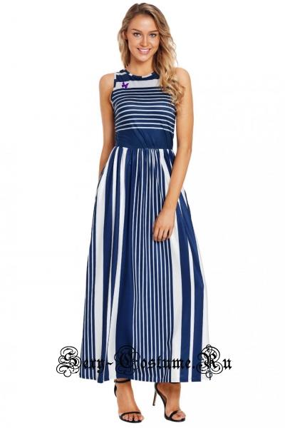 Синее платье клубное длинное белое с синими линиями d6101-9