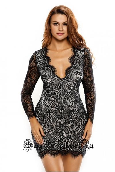Платье черно-белое с узором и открытой спиной d22535
