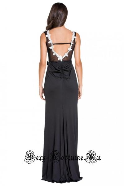 Платье длинное клубное черное с полупрозрачной белой вставкой d6839