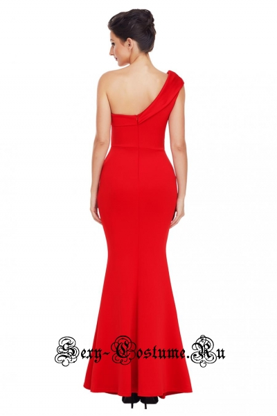 Красное платье длинное клубное через одно плечо d61774-3