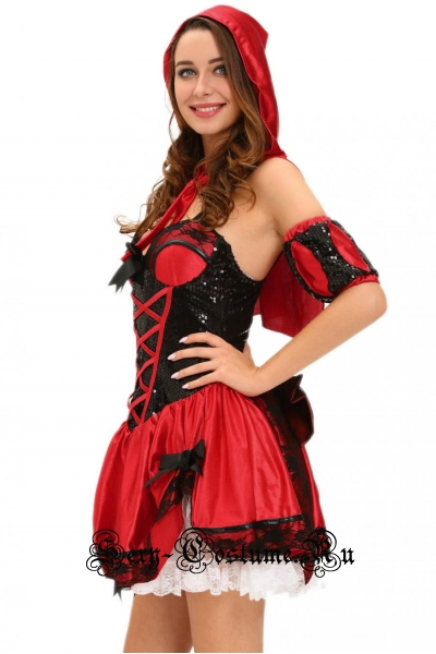 Красная шапочка леди в черных паетках d8977