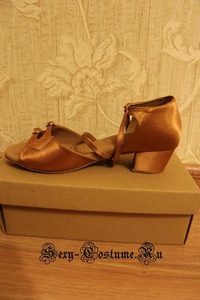 Туфли для бальных танцев девочка сатин-кожа 35 размер китай s-150d 35