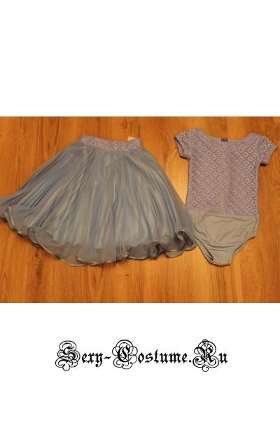 Платье рейтинговое юбка плиссе рост 134-140см п40.1 голубой