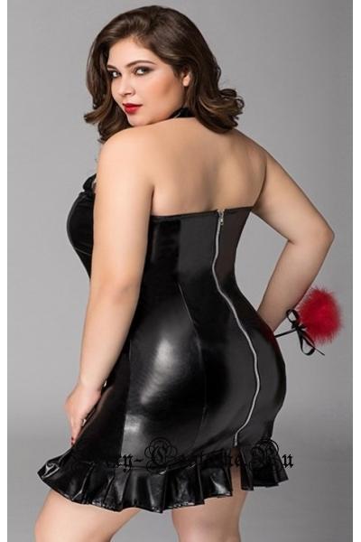 Виниловое платье чёрное 2xl с аксессуаром nightks lu71138
