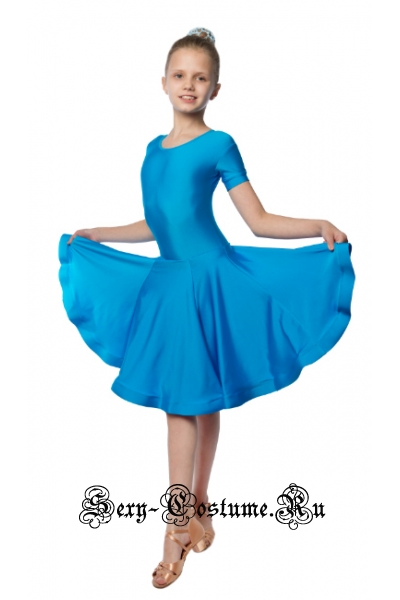 Платье голубое рейтинговое юбка гадэ рост 122-128см Россия пр19.1 голубой
