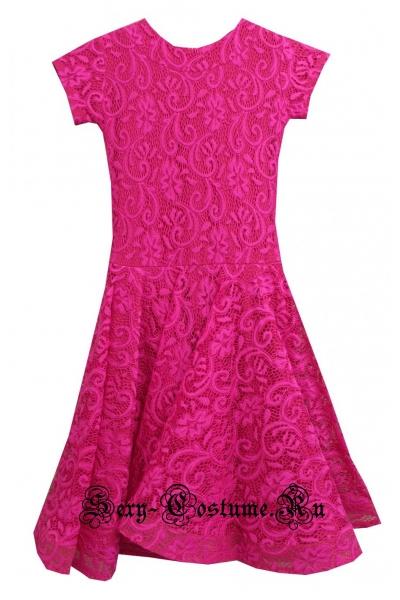 Платье рейтинговое с ригилином светло-красное рост 122-128см Россия пр1.1р фуксия