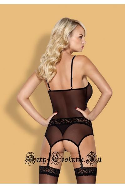 Корсет черный + трусики уникальный дизайн obsessive 812 corset