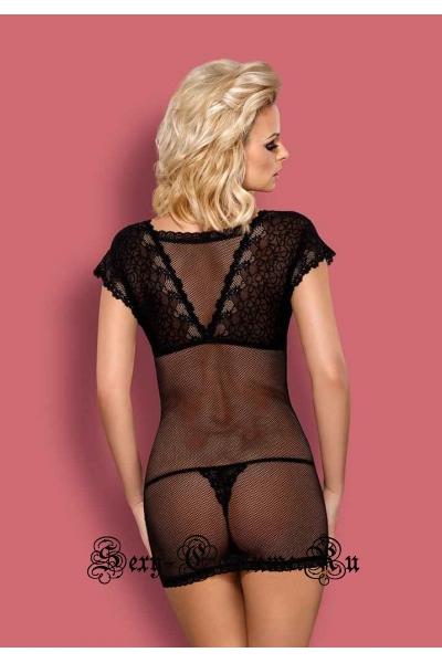 Сорочка черная полупрозрачная хозяйка ночи obsessive 821 chemise