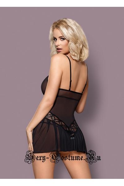 Сорочка черная полупрозрачность с узором obsessive 837 chemise