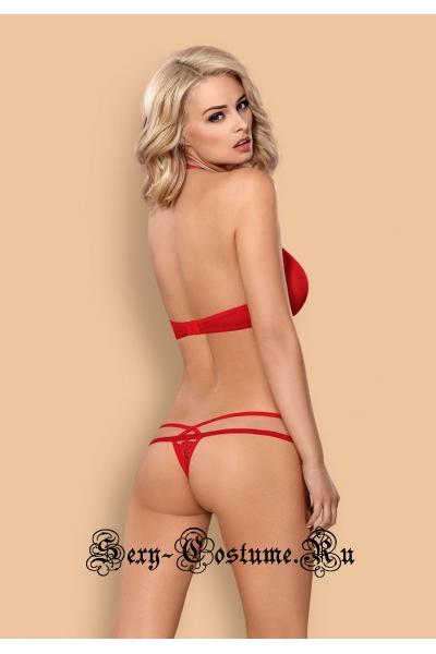 Сексуальный комплект красный с вырезом obsessive 838 set-3 set