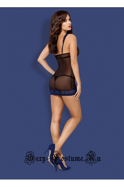 Сорочка черный + синий obsessive 850 che-6