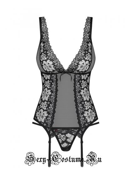 Корсет черный obsessive 856 cor-1 corset
