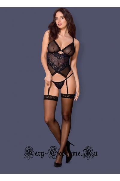 Фантастикс корсет черный + синий сексуального кроя obsessive 866 cor-1 corset