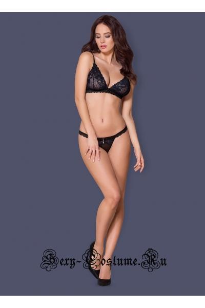 Комплект сексуальный черный + синий лиф + трусики obsessive 866 set-1