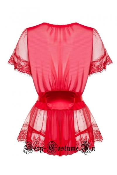 Сорочка красная из гладкой ткани и прозрачной сетки obsessive 870 pei-3