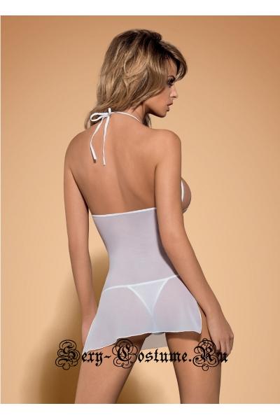 Сорочка белая из прозрачной ткани obsessive bisquitta chemise