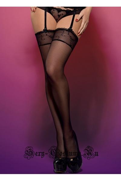 Чулки черные obsessive rosana stockings