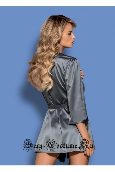 Пеньюар серый из атласа халат рукава 34 obsessive satinia robe
