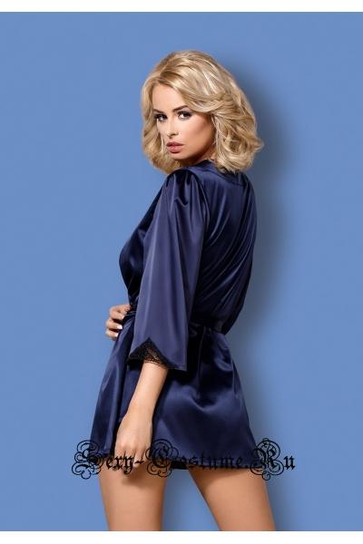 Сорочка синяя из атласа халат рукава 34 obsessive satinia robe