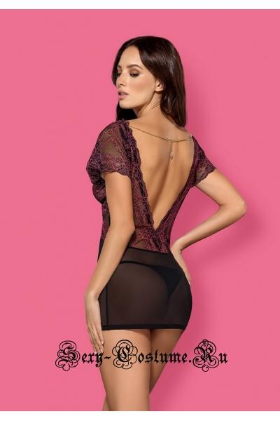 Сорочка черная полупрозрачная сетка и кружева obsessive sedusia chemise