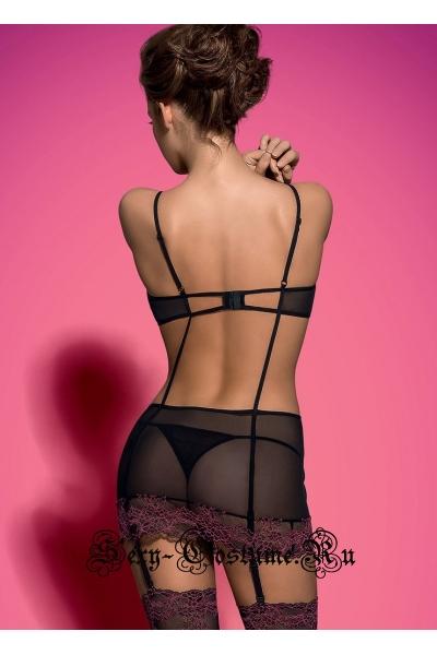 Комплект черный сексуальный ночной стряпуха obsessive sedusia corset
