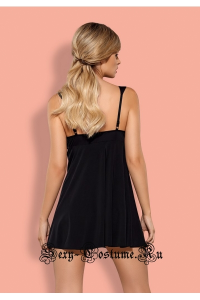 Сорочка черная obsessive charmea babydoll