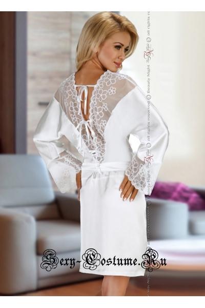 Сорочка белая из тонкого атласа + трусики beauty night federica