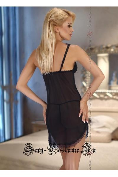 Сорочка черная из полупрозрачной вуали beauty night renee