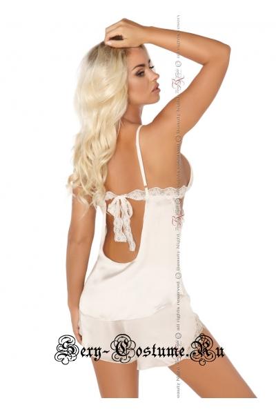 Комплект белья экрю с кружевными вставками beauty night shannon set