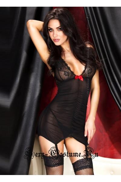 Сорочка черная с бантиком для смелой девушки chilirose cl3467 black