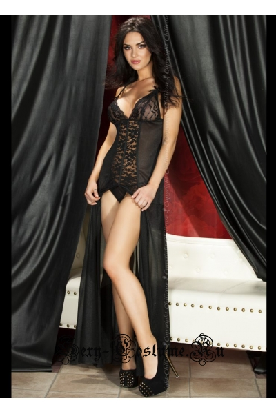 Сорочка длинная черная полупрозрачная chilirose cl3470 black