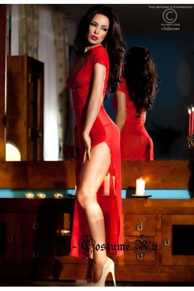 Полупрозрачная сорочка в пол с коротким рукавом красная chilirose cl3625 red