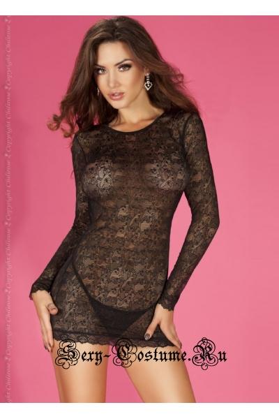 Сорочка черная chilirose cl3670 minidress