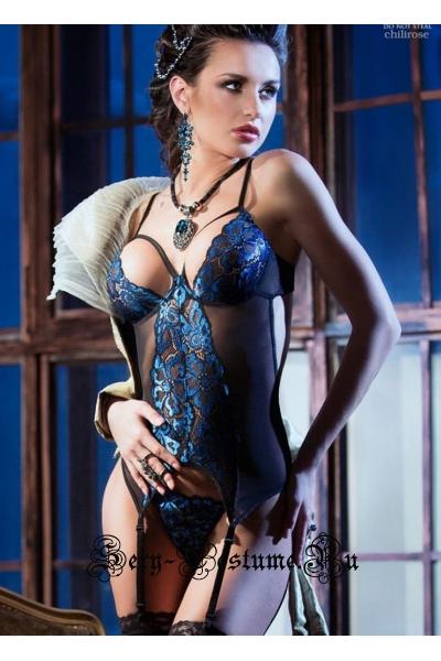 Шикарный кружевной корсет черный chilirose cl3845 diamond line corset