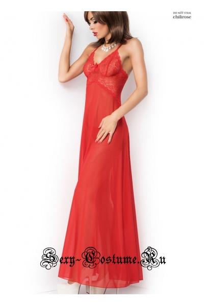 Сорочка длинная красная с сексуальным разрезом сзади chilirose cl3883 red