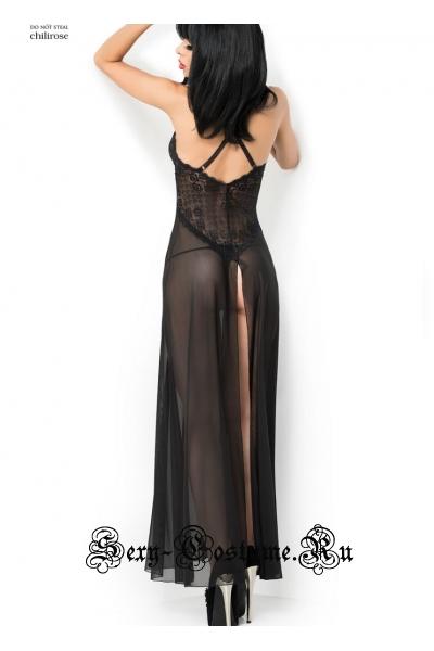 Сорочка длинная черная с разрезом сзади chilirose cl3883 black