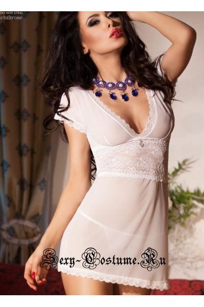 Сорочка белая женственная белый ангел chilirose cl4009 white