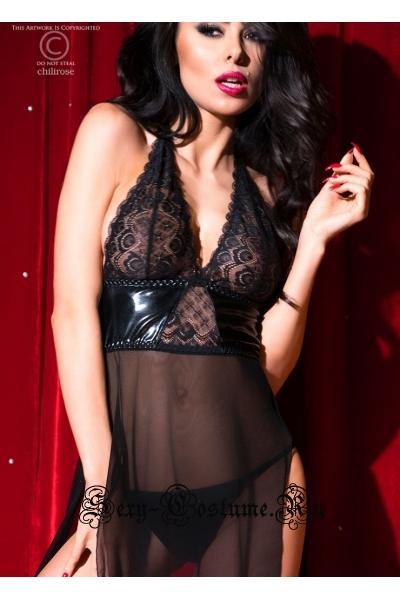 Сорочка длинная черная chilirose cl4033 long gown