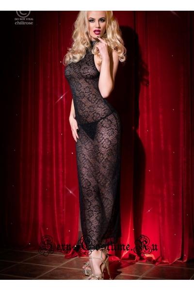 Сорочка длинная черная с цветочным узором chilirose cl4043 long gown