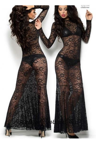 Сорочка длинная черная chilirose cl4049