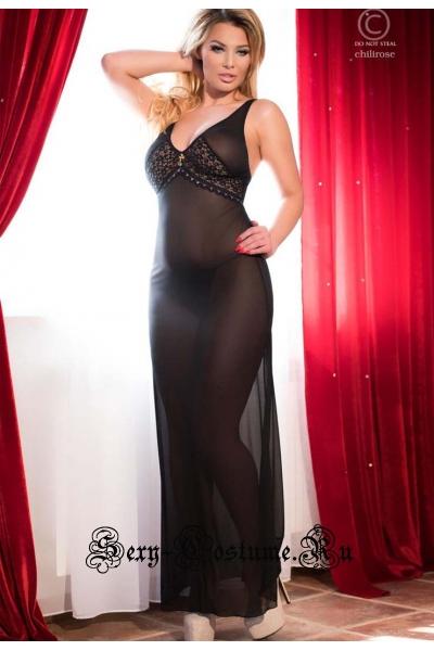 Сорочка длинная черная из мягкого фатина chilirose cl4065 long gown