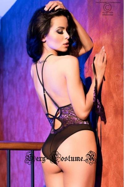 Сексуальное боди с открытой спиной черный + фиолетовый chilirose cl4075 body