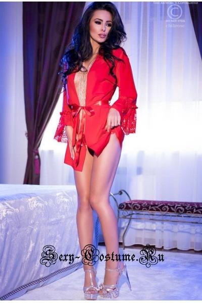 Пеньюар красный с кружевом на рукавах chilirose cl4084 red
